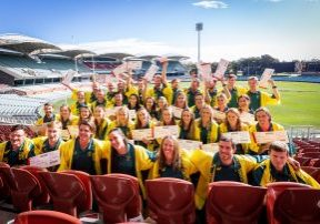 ADELAIDE, AUSTRALIA - JUNE 13: Athletes pose for a photo during the Australian Rowing Tokyo Olympic Games Team Announcement at the Adelaide Oval on June 13, 2021 in Adelaide, Australia. (Photo by James Elsby/Getty Images for the Australian Olympic Committee)